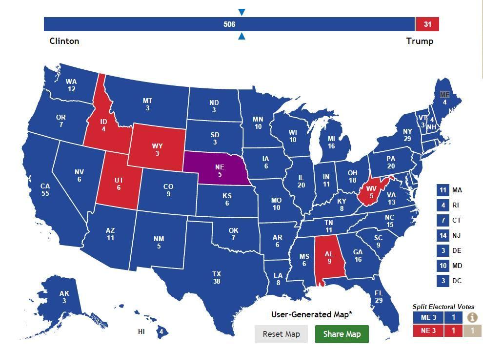 The Clinton Vs Trump Wetdream Electoral Map US Message Board - Trump clinton us map