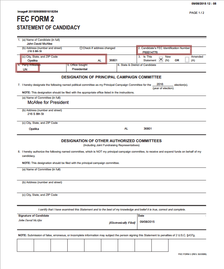 2015-09-009 McAfee FEC form for president (unaffiliated).png