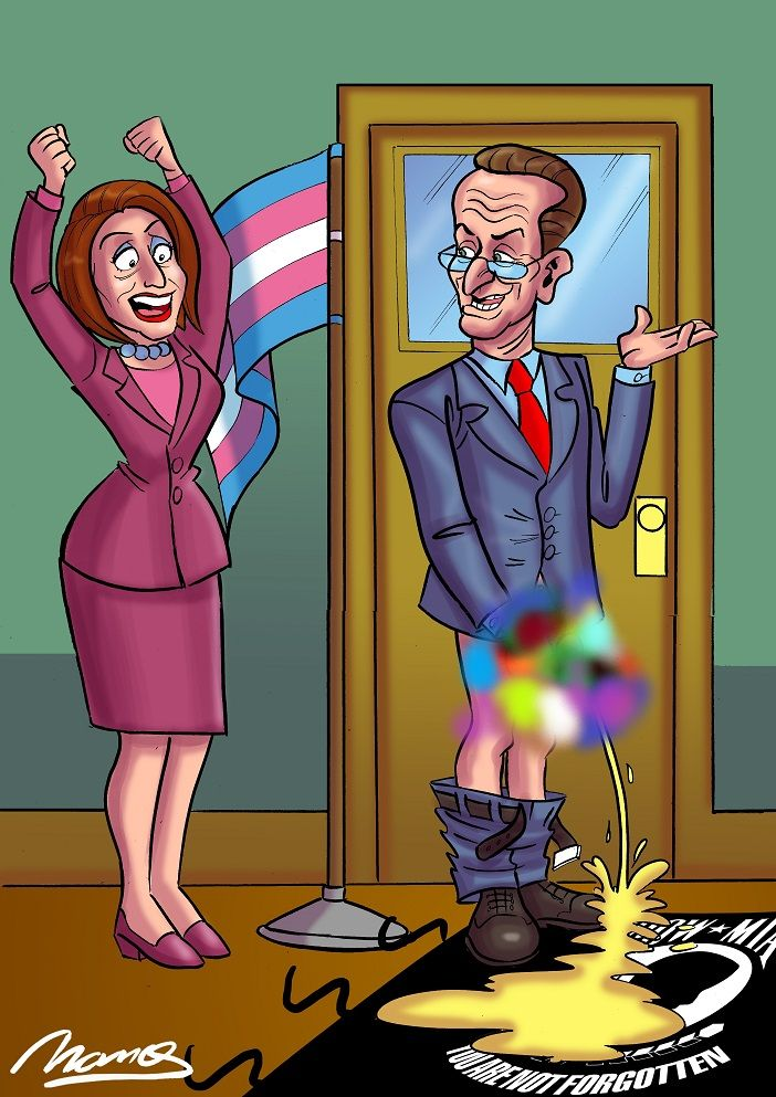 Pelosi  & Schumer trans flag censored.jpg