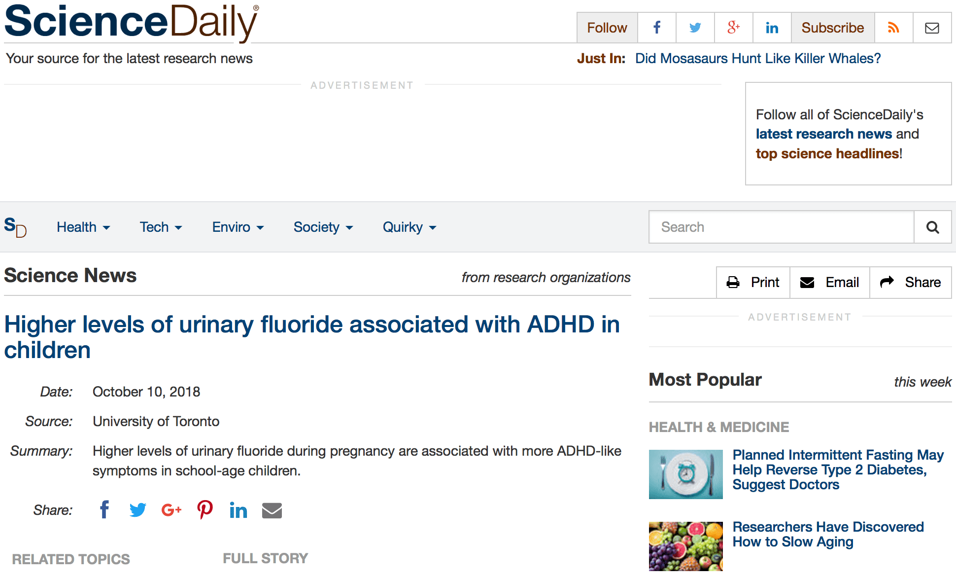 Higher Levels Of Urinary Fluoride >> Higher Levels Of Urinary Fluoride Associated With Adhd In Children